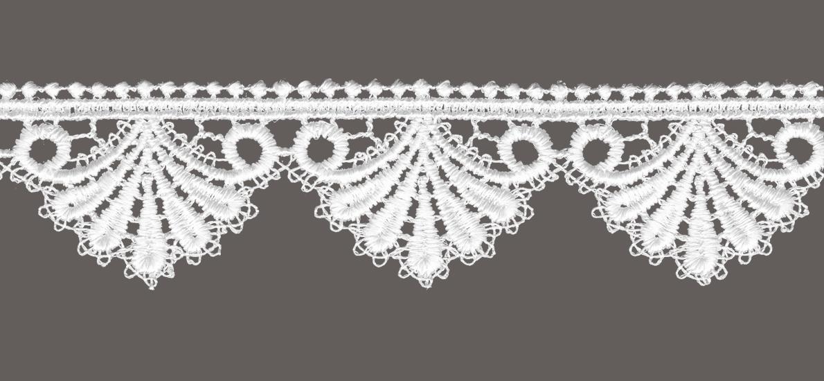 кружево для штор, скатертей салфеток цвет: белый ширина 4см