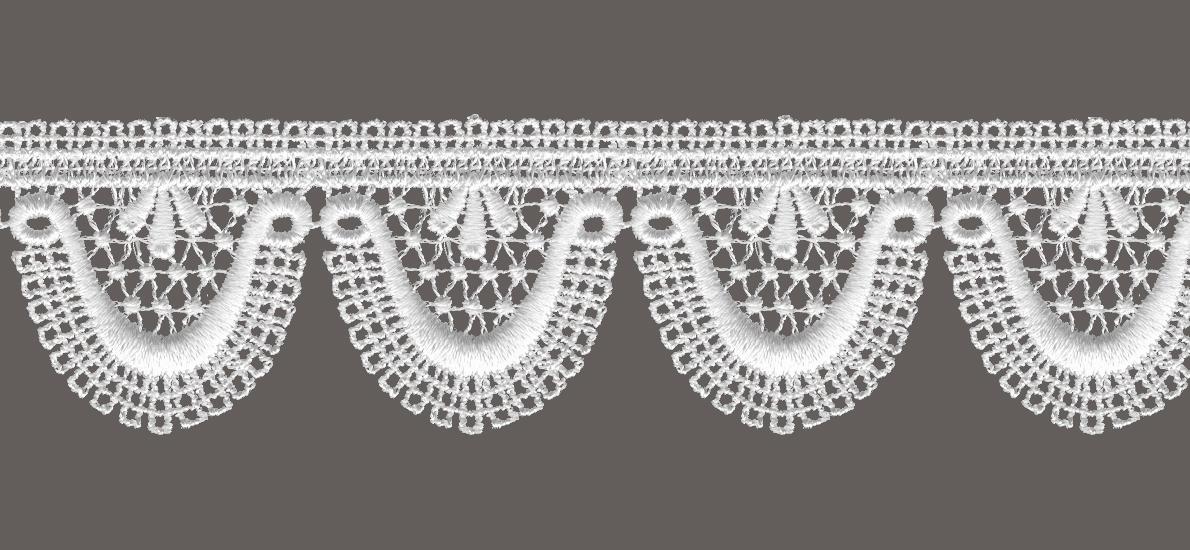 кружево для штор, скатертей салфеток цвет: белый ширина 5см