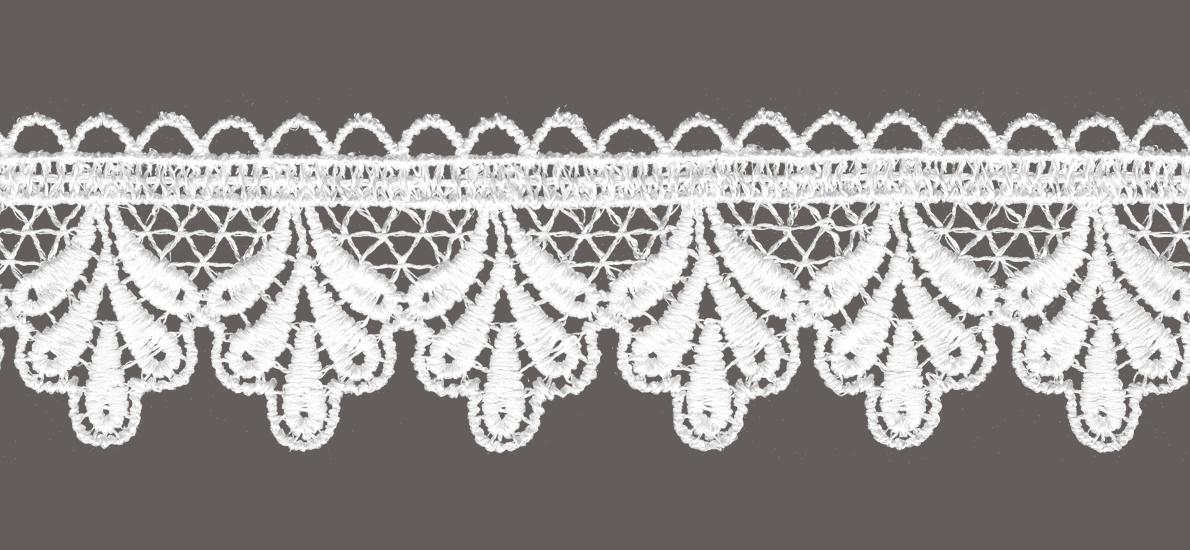 кружево для штор, скатертей салфеток цвет: белый ширина 4,3см