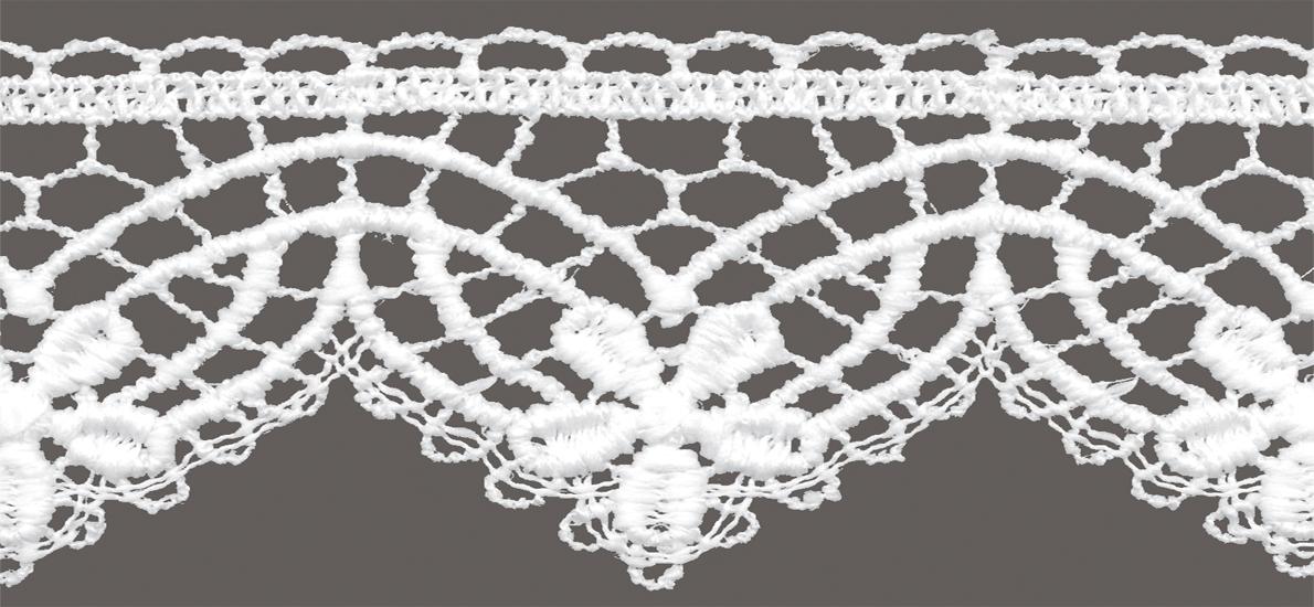 кружево для штор скатертей салфеток цвет: белый матовый ширина 5,5см