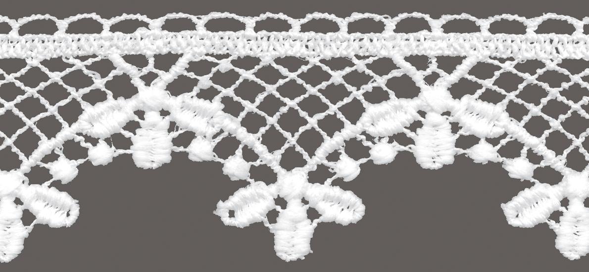 кружево для штор, скатертей салфеток цвет: белый матовый ширина 5,2см